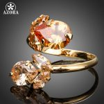 AZORA-Gold-Color-Double-Flowers-Champagne-Cubic-Zirconia-Waterdrop-Adjustable-Size-Ring-TR0141-1