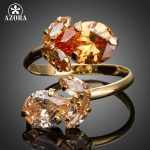 AZORA-Gold-Color-Double-Flowers-Champagne-Cubic-Zirconia-Waterdrop-Adjustable-Size-Ring-TR0141