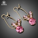 AZORA-Gold-Color-Pink-Stellux-Austrian-Crystal-Butterfly-Drop-Earring-TE0014
