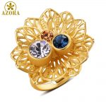 AZORA-Multicolor-Austrian-Crystal-Flower-Adjustable-Size-Ring-for-Women-Wholesale-Fashionable-Wedding-Jewelry-Accessories-TR0224-5