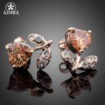 AZORA-Rose-Gold-Color-Orange-Stellux-Austrian-Crystal-Flower-Stud-Earrings-TE0065-1