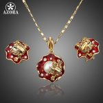 AZORA-The-Frogs-On-the-Lotus-Gold-Color-Stud-Earrings-and-Necklace-Jewelry-Sets-TG0019