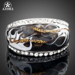 AZORA-White-Gold-Color-Stellux-Austrian-Crystal-Black-and-White-Pattern-Ring-TR0013