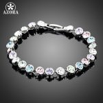 AZORA-White-Gold-Color-Stellux-Austrian-Crystal-Multicolour-Round-End-to-End-Bracelet-TS0005