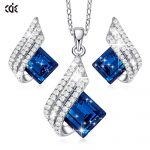 CDE-925-Sterling-Silver-Necklace-Earrings-Set-Embellished-with-Crystals-Jewelry-Set-Pendant-Necklace-Stud-Earring