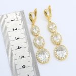New-White-Zircon-Gold-Color-Jewelry-Set-for-Women-with-Bracelet-Long-Earrings-Necklace-Pendant-Ring-2