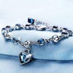 Silver-Color-Sapphire-Bracelet-For-Women-Romantic-Heart-shaped-Blue-jewelry-pulseira-feminina-kehribar-bizuteria-Bracelet