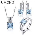 UMCHO-925-Sterling-Silver-Jewelry-Set-Nano-Aquamarine-Sky-Blue-Topaz-Ring-Pendant-Stud-Earrings-Necklace