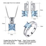 UMCHO-925-Sterling-Silver-Jewelry-Set-Nano-Aquamarine-Sky-Blue-Topaz-Ring-Pendant-Stud-Earrings-Necklace-3
