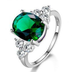 925 Sterling Silver Cushion Aqua /& Round White Stone Studded Wedding Women Ring